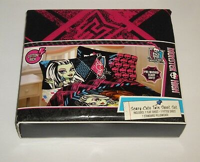 2013 Monster High  Scary Cute  3 Piece Twin Sheet Set NEW With TAG • 9.78£