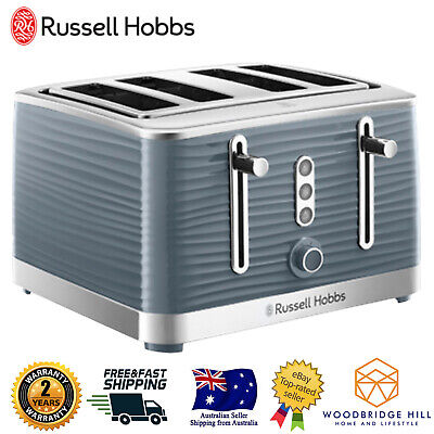 AU79.06 • Buy Russell Hobbs Large Slot 4 Slice Toaster High Lift Defrost Reheat Blue LED GREY