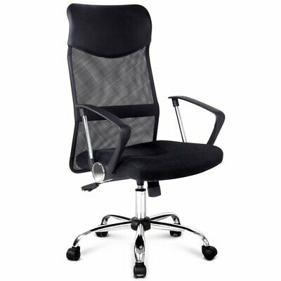 AU79 • Buy Artiss Office Chair Computer PU Leather Mesh Chairs Executive High Back BlackNEW
