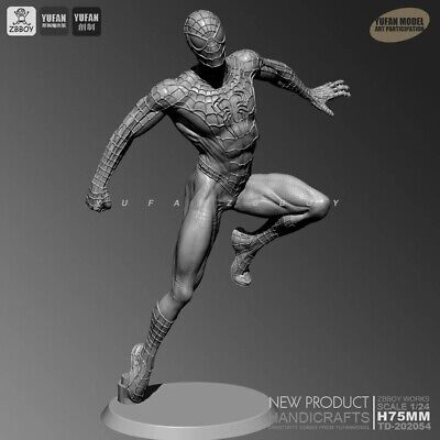 Spider Man Resin Kits Unpainted Figure GK YUFAN Model 75mm With Base. • 14.90£