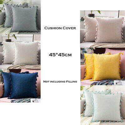 Modern Tassel Particles Velvet Pillow Case Solid Cushion Cover Office/Home Decor • 8.57£