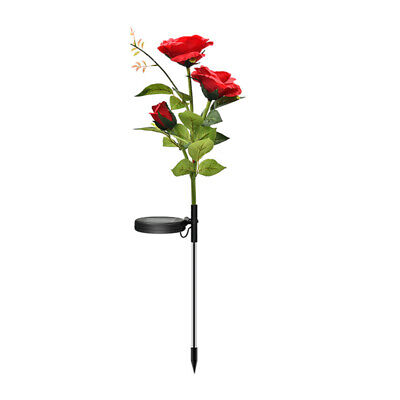 UK LED Solar Rose Flower Stake Lights Outdoor Garden Path Party Yard Lamps Red • 4.10£