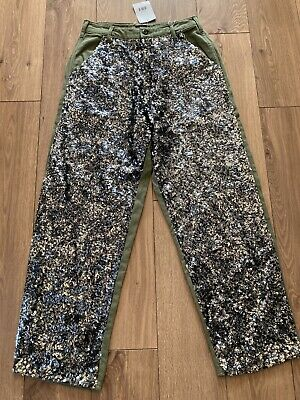 Ladies Green Sequin Front Jean Trousers By Topshop, Uk 10, New • 4.99£