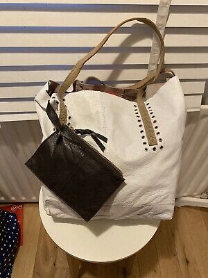 Gorgeous Large River Island 100% Leather Tote Bag Handbag White & Purse • 14.99£