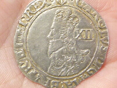 Charles I Shilling Mm Anchor Hammered Silver 5.8 Gms S.2796 Beauty ! #LB55 • 395£