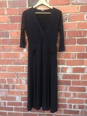 AU10 • Buy Asos Black Faux Wrap Midi Dress Size 12