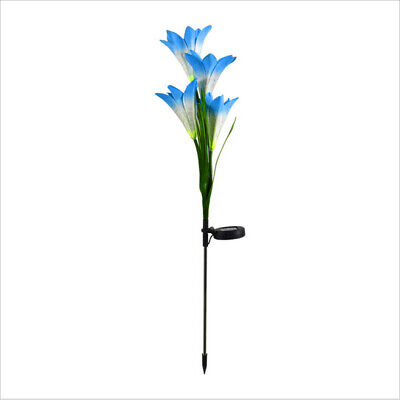 Blue LED Solar Power Lily Flower Stake Lights Outdoor Garden Path Luminous Lamps • 2.20£