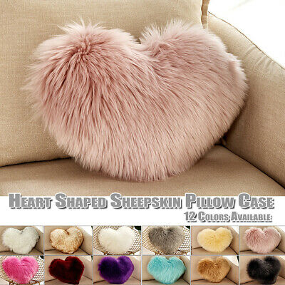 Love Heart Shape Fluffy Pillow Case Soft Sheepskin Sofa Cushion Cover Home Decor • 9.39£
