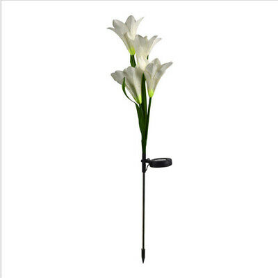 UK LED Solar Power Lily Flower Stake Lights Outdoor Garden Path Luminous Lights • 2.50£