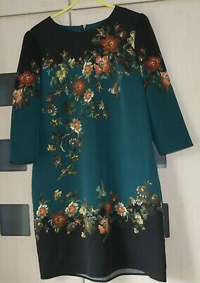 Oasis Green Floral & Print Bird Tunic Dress Size 16. Back Zip. BNWT • 12.99£