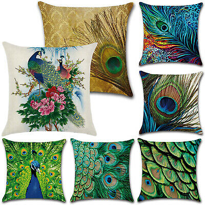 Peacock Feather Print Pillowcase Home Decor Waist Cushion Cover Pillow Case New • 5.79£