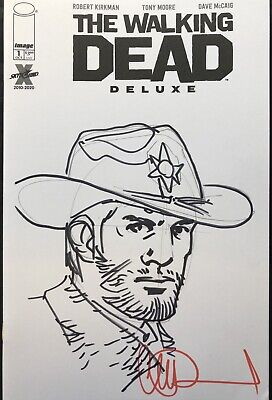 The Walking Dead Deluxe #1 Blank Cover W/Rick Sketch & Signed By Charlie Adlard • 32£
