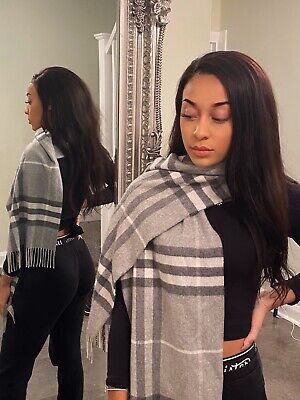 BNWT GENUINE BURBERRY CLASSIC CHECK SCARF PALE GREY/IVORY CASHMERE £350 Rrp • 200£