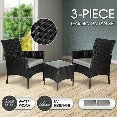 AU194.95 • Buy Outdoor Lounge Furniture Sofa Rattan Table And Chairs Set 3 Pcs Garden Patio