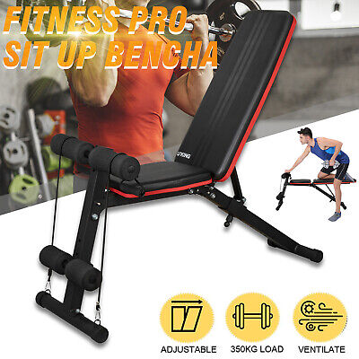 Adjustable Folding Weight Bench Heavy Duty Lifting Dumbbell Home Gym Exercise UK • 89.99£