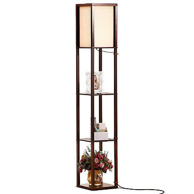Brightech Maxwell Standing Tower Floor Lamp W/ Shelves & LED Bulb, Havana Brown • 47.03£