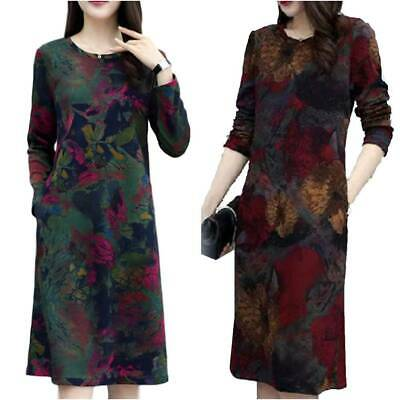 Women Long Sleeve Crew Neck Dress Ladies Floral Printed Casual Midi Dresses New • 9.59£