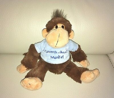 Official Keel Toys Cute Monkey Wearing T-Shirt Saying  Mummy's Cheeky Monkey   • 3£