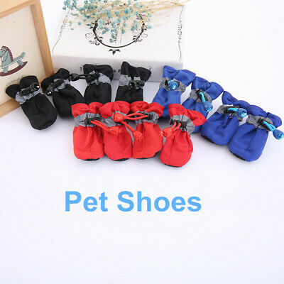 4PCS Pet Dog Puppy Waterproof Reflective Rain Snow Booties Socks Rubber Shoes • 4.36£