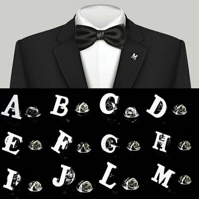 £0.99 • Buy 26 Letters Brooches Material Lapel Pin Collar Silver Men's Party Suit Jewelry