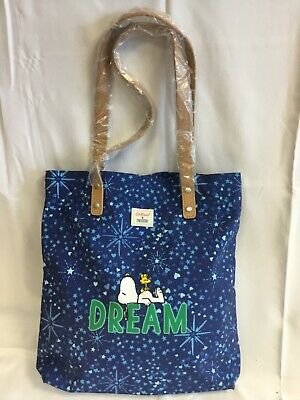 Cath Kidston X Snoopy Blue Dream Shopper Bag Peanuts ToteLeather Handle - SD • 30£