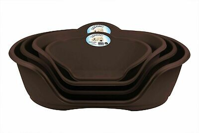 Pet Dog Puppy Cat Plastic Bed Basket Heavy Duty Waterproof All Sizes Brown NEW  • 17.95£