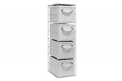 Home 4 Drawer Basket Storage Tower Unit Bedroom Bathroom Rattan Slim Wicker • 26.11£