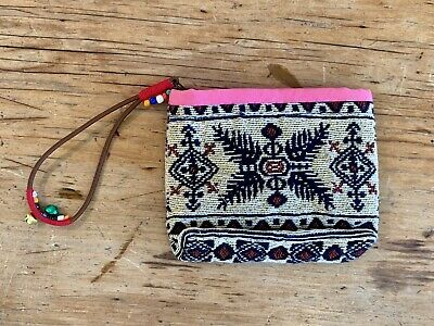 Woven Aztec Zip Purse With Pink Trim With Beaded And Bell Zip Puller 12x10mm • 0.50£