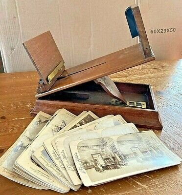 C19th WALNUT STEREOSCOPE GRAPHOSCOPE VIEWER WITH PHOTOGRAPHIC CARDS (HOARE BROS) • 165£
