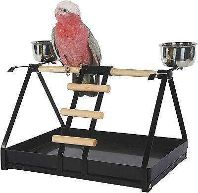 Large Parrot Cockatoo Bird Play Stand With Feeders And Dirt Tray • 38.98£