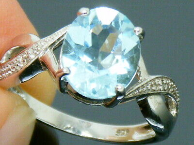 Solid Silver 925 Diamond And 3.00ct Topaz  Ring Size M • 39£
