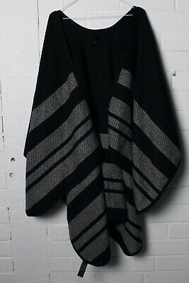 Capsule Womens Knitted Poncho Cardigan Shawl - Black Grey - One Size (L-S4) • 4.99£