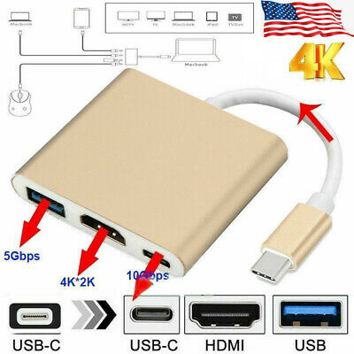 $13.82 • Buy Type C To HDMI HDTV TV USB Cable Adapter Converter Hub For Macbook Android Phone