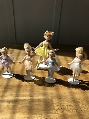 "$ CDN26.48 • Buy Lot Of 5 Porcelain Doll Set 7"" & 8"" Pre Owned No Markings With Stands Pre Owned"