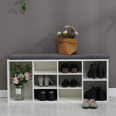 £47.69 • Buy Shoe Bench Shoes Storage Rack Wooden Shelf Cabinet Seat Cushion Hallway Stand