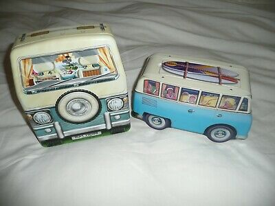 Collection Of 2 Empty Biscuit/sweet Tins In The Form Of CAMPER VANS  • 5£