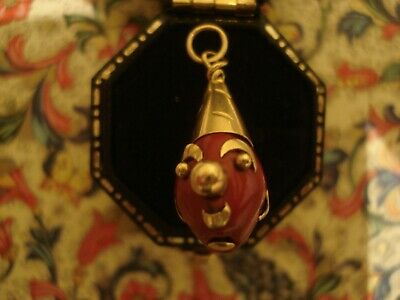 Enchanting & Finely Crafted Antique Edwardian: 14CT Gold Clown Design Pendant • 225£