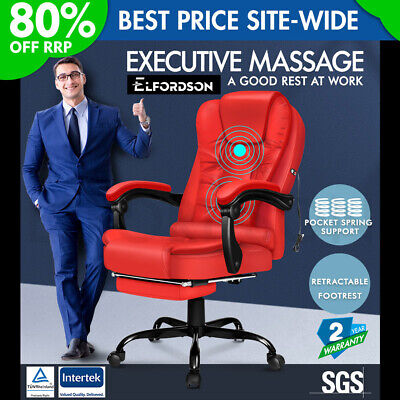 £109.95 • Buy ELFORDSON Massage Office Chair With Footrest Executive Gaming Seat Leather Red
