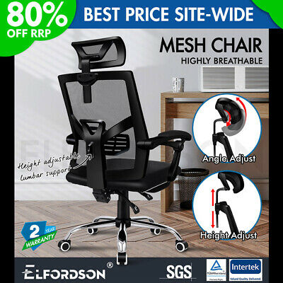 ELFORDSON Mesh Office Chair Gaming Executive Fabric Seat Racing Footrest Recline • 99.90£