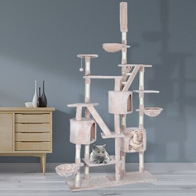 Cat Tree Kitty Activity Play Center Scratching Scratcher House Furniture 260CM • 80.99£