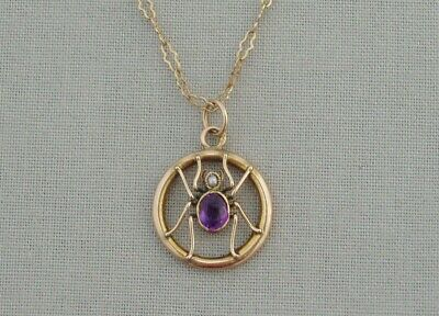 Antique Edwardian 9 Carat Gold Amethyst Seed Pearl Spider Pendant & Chain Insect • 245£