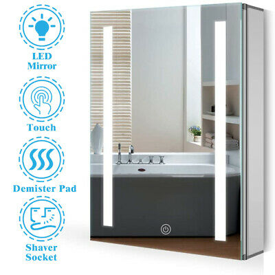 £124.44 • Buy Anti-fog Bathroom LED Mirror Cabinet With Touch Sensor Switch And Shaver Socket