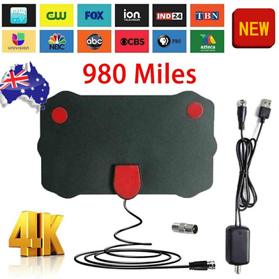 AU13.93 • Buy Digital TV Antenna 980 Miles Signal Booster Amplifier HDTV Indoor USB Thin 13ft