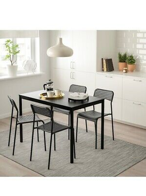 Ikea Dining  Set Table And 4 Chairs, Black , 110cm  • 379£