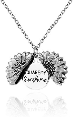 Sunflower Locket Necklace For Women You Are My Sunshine Engraved Pendant With • 16.78£