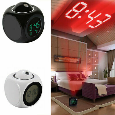 Battery Operated Digital Alarm Clock Projector Wall Ceiling Projection Clocks • 8.49£