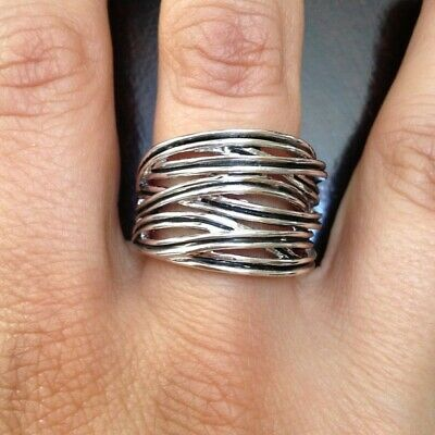 $ CDN19.40 • Buy New Lia Sophia Wound Up Intertwined Silver Tone Wide 3/4 Ring - Size 7
