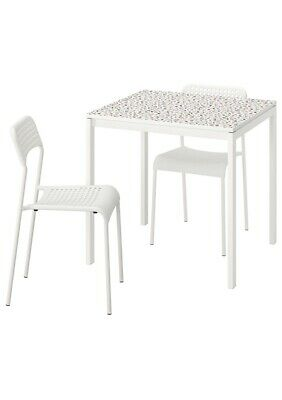 Ikea Dining Table, Table And 2 Chairs, Mosaic Patterned White/white75x75 Cm • 155.99£