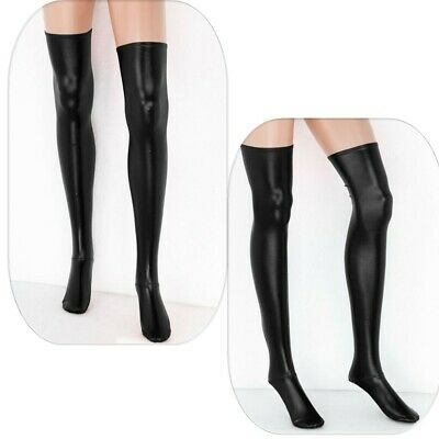 Black Sexy Lingerie Womens Leather Thigh-High Stockings Wet Look Club Wear Socks • 5.99£