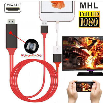 Connector Screen Mirroring Projector USB HDMI Cable 1080P For IPhone For Android • 9.56£